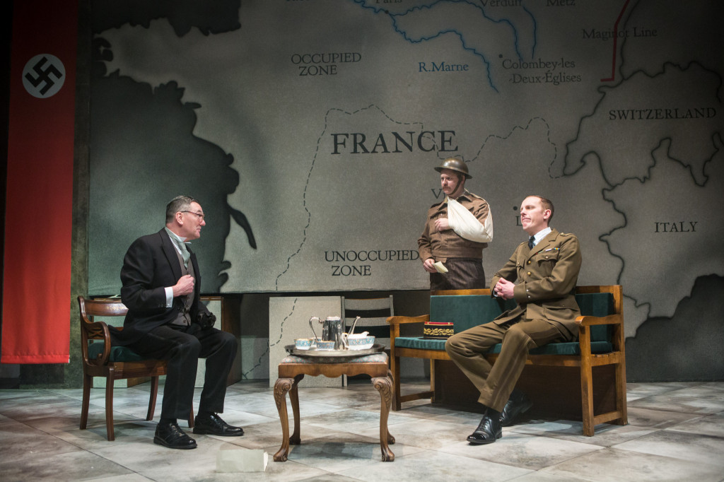 © Helen Murray, (left) Tom Mannion (Lord Halifax), James Chalmers (De Courcel), Laurence Fox (De Gaulle)