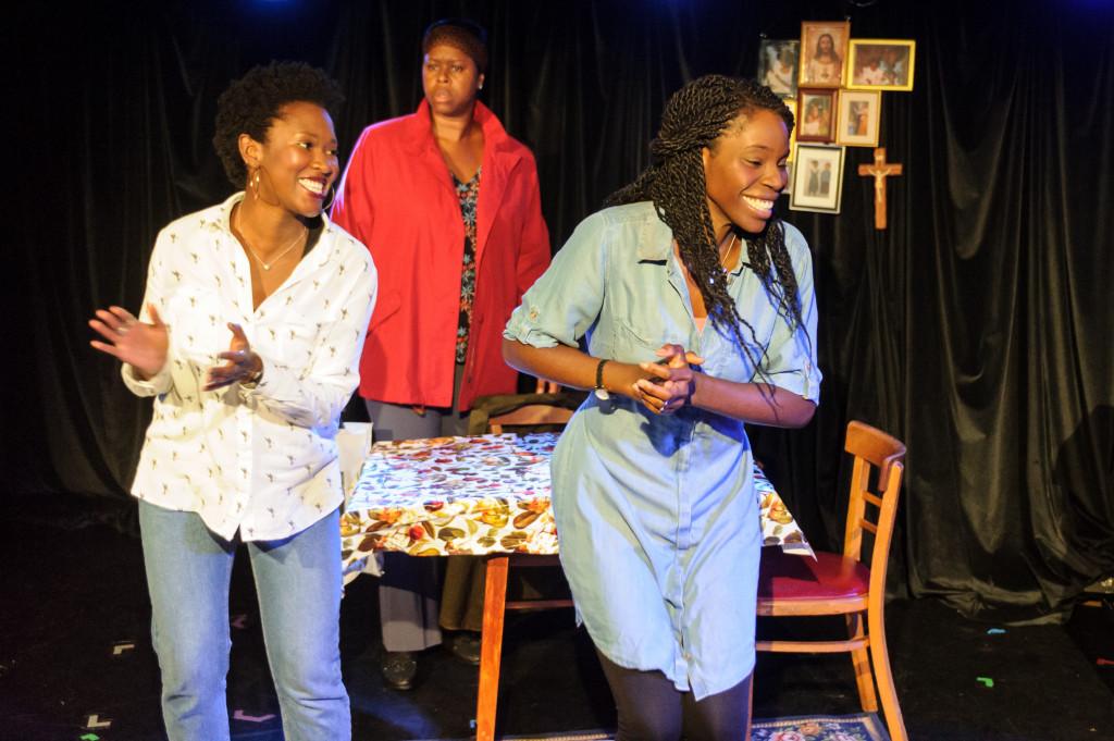 © Jane Hobson, Shvorne Marks (Patricia), Michelle Greenidge (Mum), Rebecca Omogbehin (Jemima).