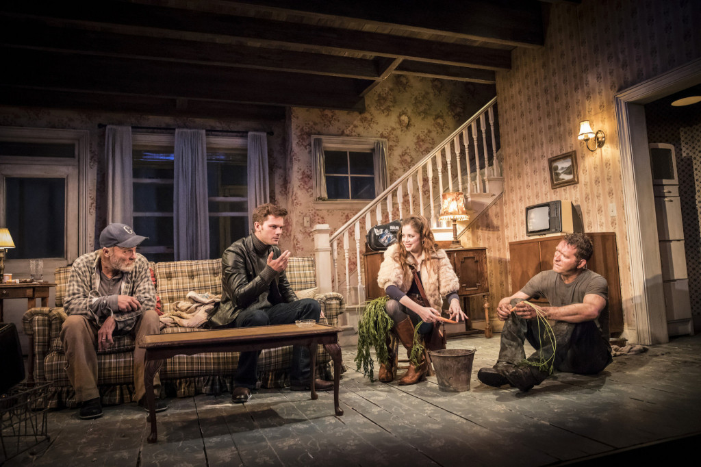 © Johan Persson, (left-to-right), Ed Harris (Dodge), Jeremy Irvine (Vince), Charlotte Hope (Shelly), Barnaby Kay (Tilden)