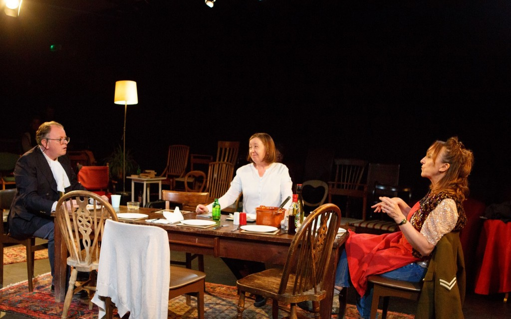 Tony Turner (Tom), Maggie Daniels (Pam), Victoria Willing (April) at supper on the Somme in April's B&B...