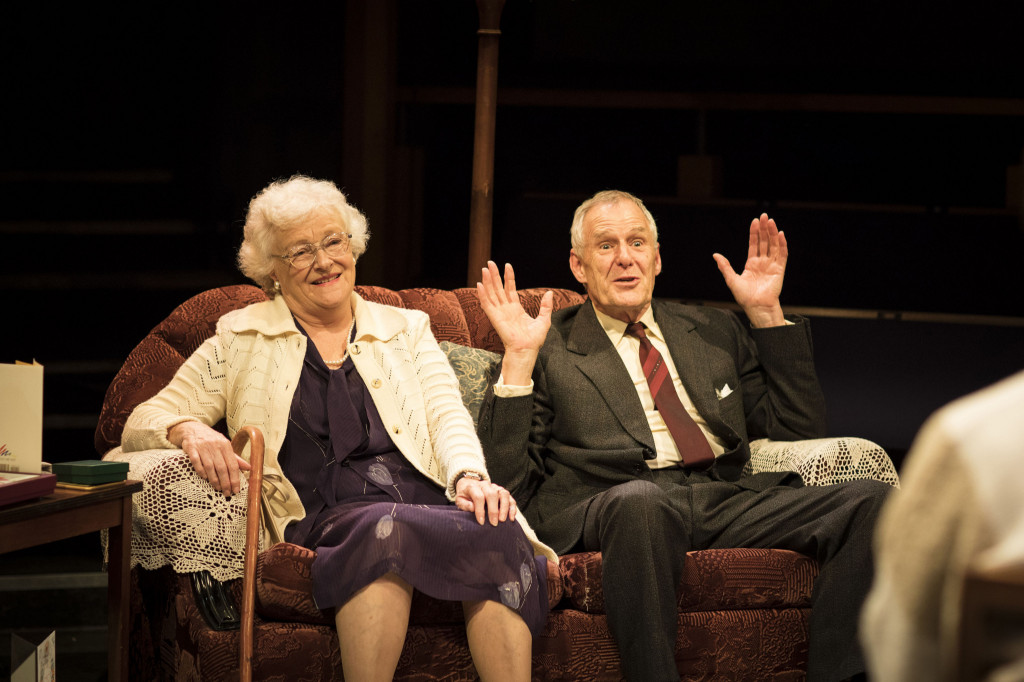 © Helen Maybanks, Sue Wallace and Ian Gelder, as the happy couple, celebrating 60 years of married life...